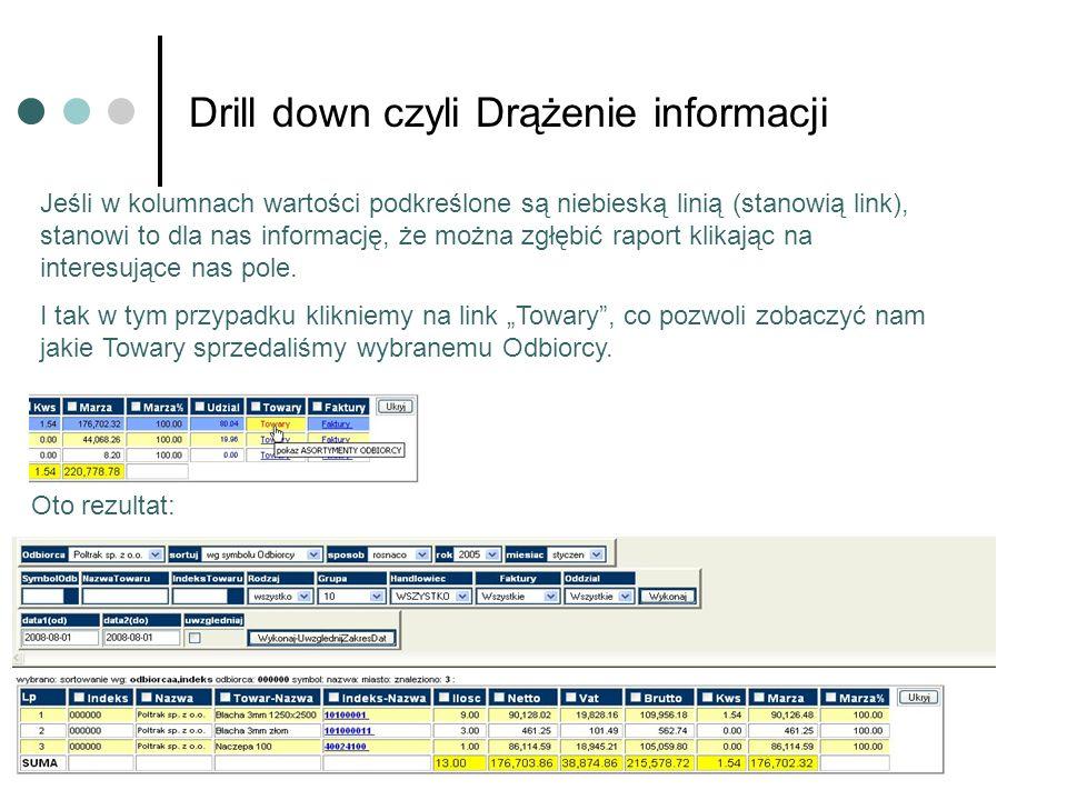 Drill down czyli Drążenie informacji Jeśli w kolumnach wartości podkreślone są niebieską linią (stanowią link), stanowi to dla nas informację, że można zgłębić raport klikając na interesujące nas pole.