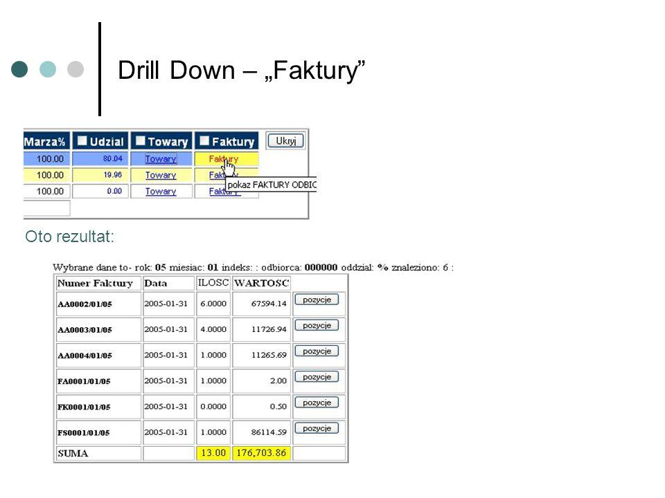 Drill Down – Faktury Oto rezultat: