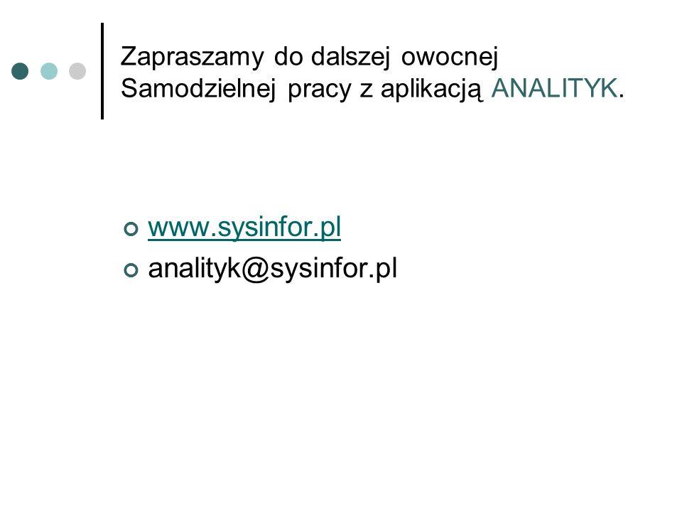 Zapraszamy do dalszej owocnej Samodzielnej pracy z aplikacją ANALITYK. www.sysinfor.pl analityk@sysinfor.pl