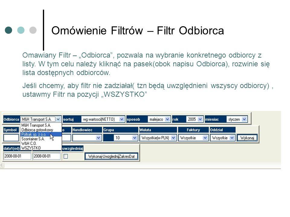 Omówienie Filtrów – Filtr Odbiorca Omawiany Filtr – Odbiorca, pozwala na wybranie konkretnego odbiorcy z listy. W tym celu należy kliknąć na pasek(obo