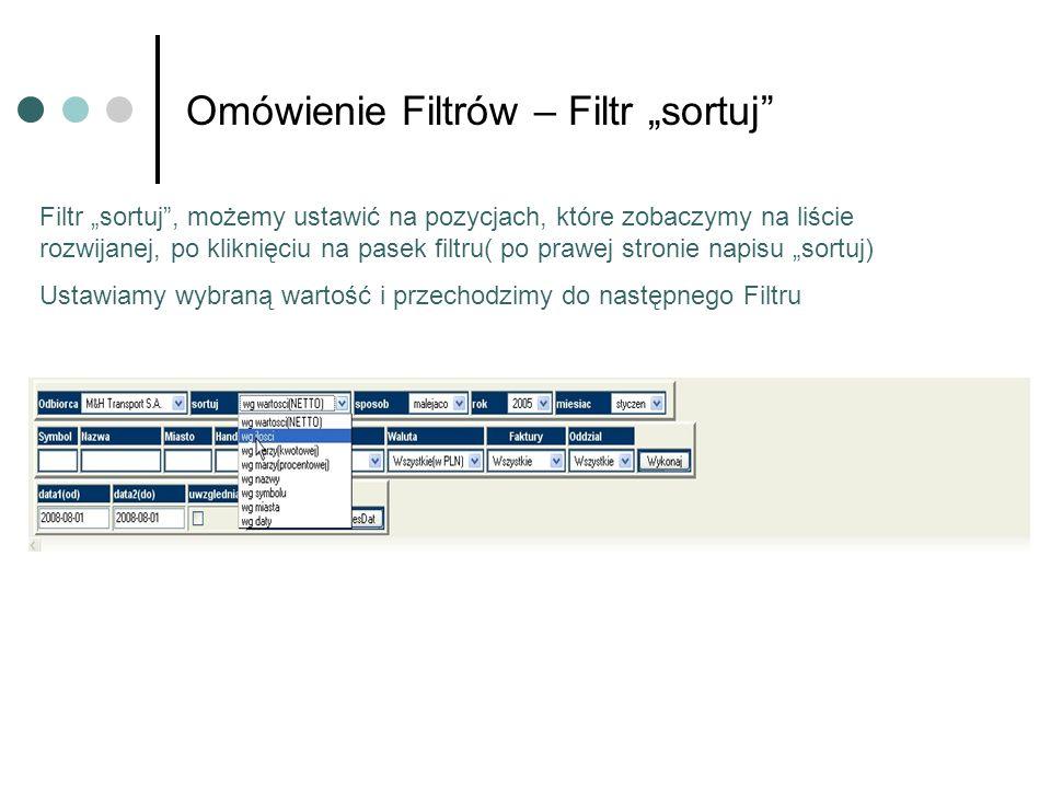 Omówienie Filtrów – Filtr sortuj Filtr sortuj, możemy ustawić na pozycjach, które zobaczymy na liście rozwijanej, po kliknięciu na pasek filtru( po prawej stronie napisu sortuj) Ustawiamy wybraną wartość i przechodzimy do następnego Filtru