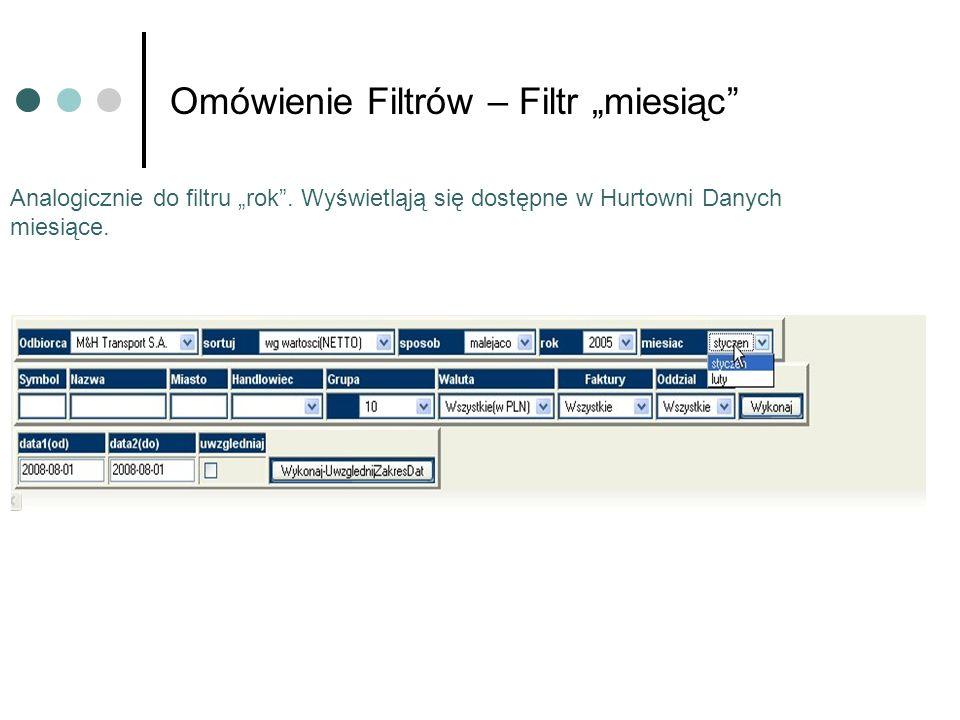 Omówienie Filtrów – Filtr miesiąc Analogicznie do filtru rok. Wyświetląją się dostępne w Hurtowni Danych miesiące.
