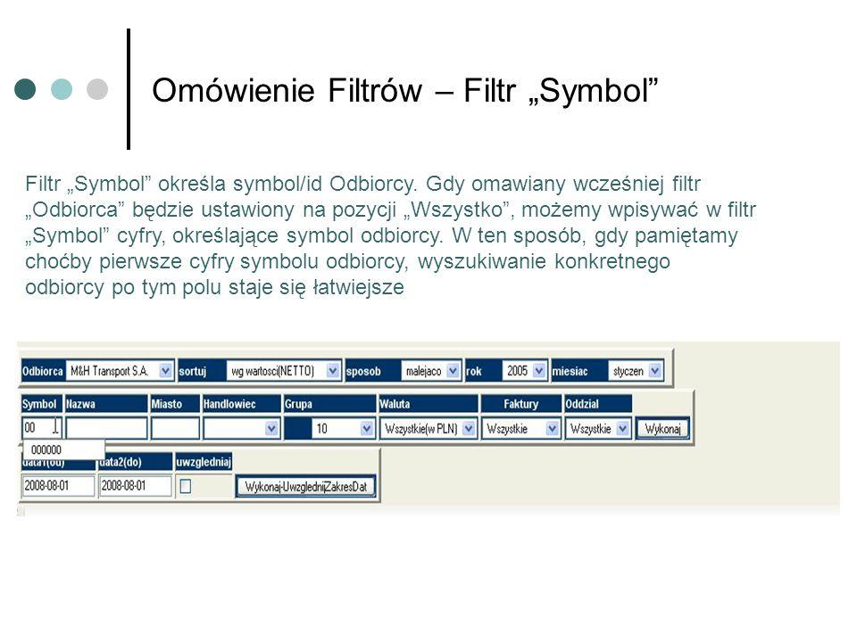 Omówienie Filtrów – Filtr Symbol Filtr Symbol określa symbol/id Odbiorcy. Gdy omawiany wcześniej filtr Odbiorca będzie ustawiony na pozycji Wszystko,