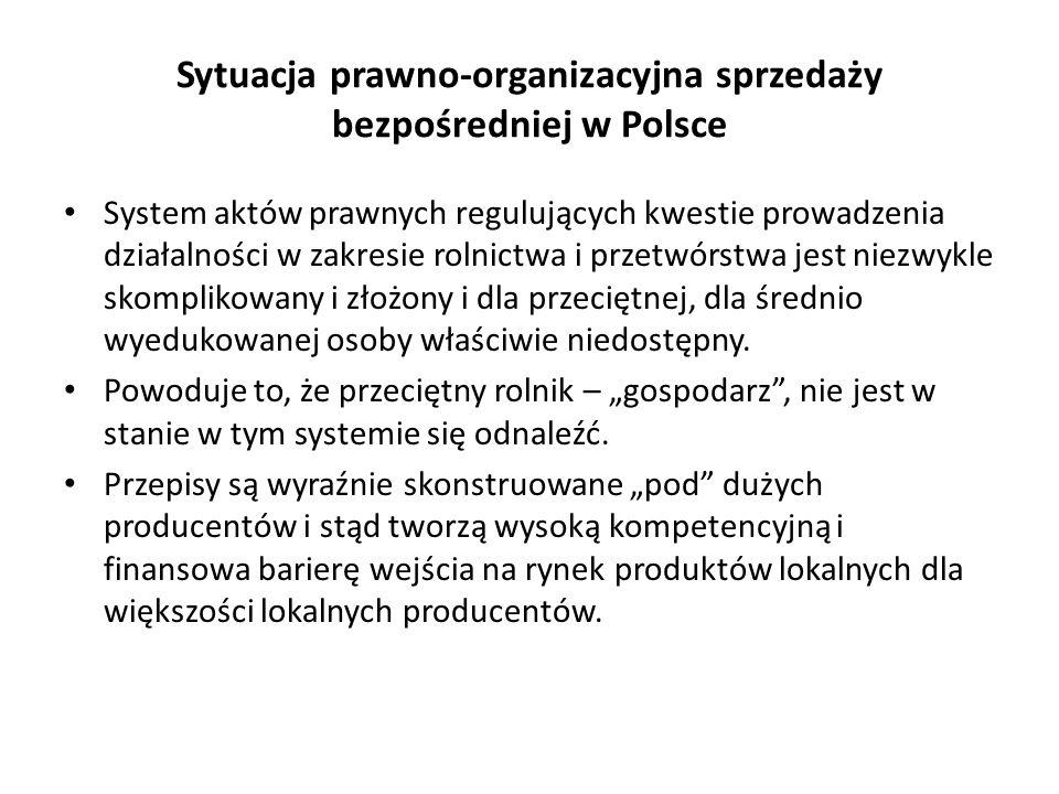 Sytuacja prawno-organizacyjna sprzedaży bezpośredniej w Polsce System aktów prawnych regulujących kwestie prowadzenia działalności w zakresie rolnictwa i przetwórstwa jest niezwykle skomplikowany i złożony i dla przeciętnej, dla średnio wyedukowanej osoby właściwie niedostępny.