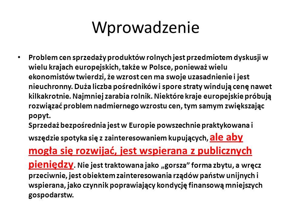 Zakres sprzedaży bezpośredniej dopuszczony w Polsce Dostawy bezpośrednie obejmują również środki spożywcze pochodzące z produktów lub surowców, o których mowa w ust.
