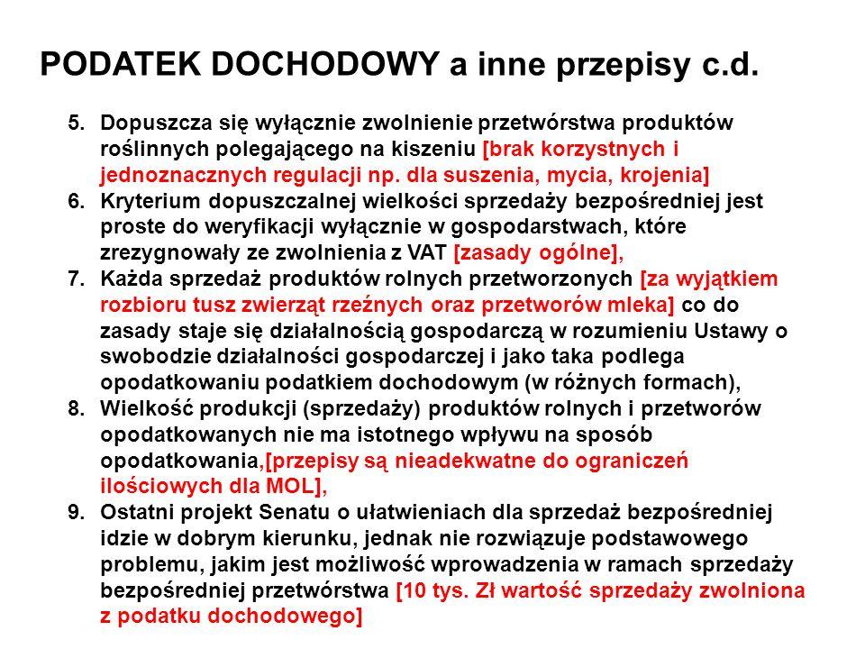 PODATEK DOCHODOWY a inne przepisy c.d. 5.Dopuszcza się wyłącznie zwolnienie przetwórstwa produktów roślinnych polegającego na kiszeniu [brak korzystny