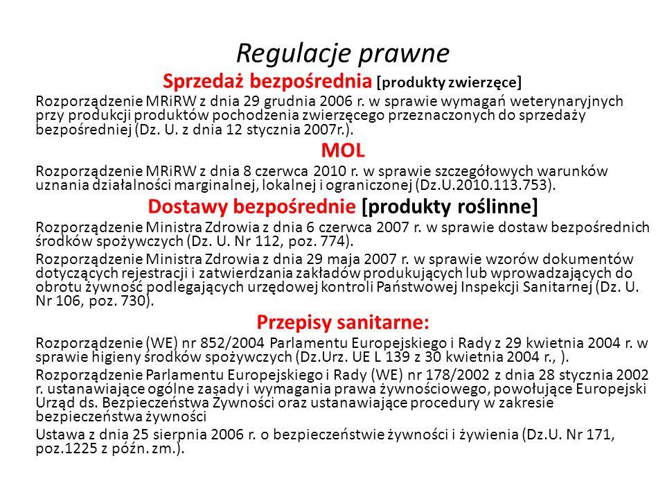 Regulacje prawne Sprzedaż bezpośrednia [produkty zwierzęce] Rozporządzenie MRiRW z dnia 29 grudnia 2006 r. w sprawie wymagań weterynaryjnych przy prod
