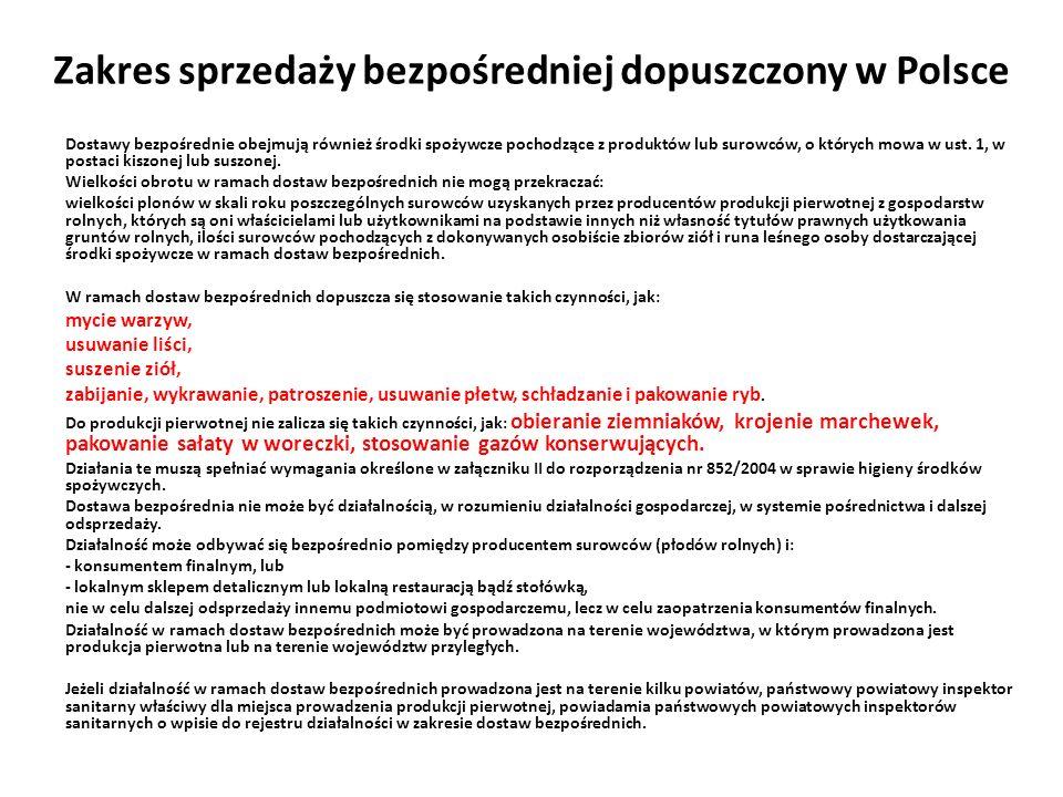 Zakres sprzedaży bezpośredniej dopuszczony w Polsce Dostawy bezpośrednie obejmują również środki spożywcze pochodzące z produktów lub surowców, o któr