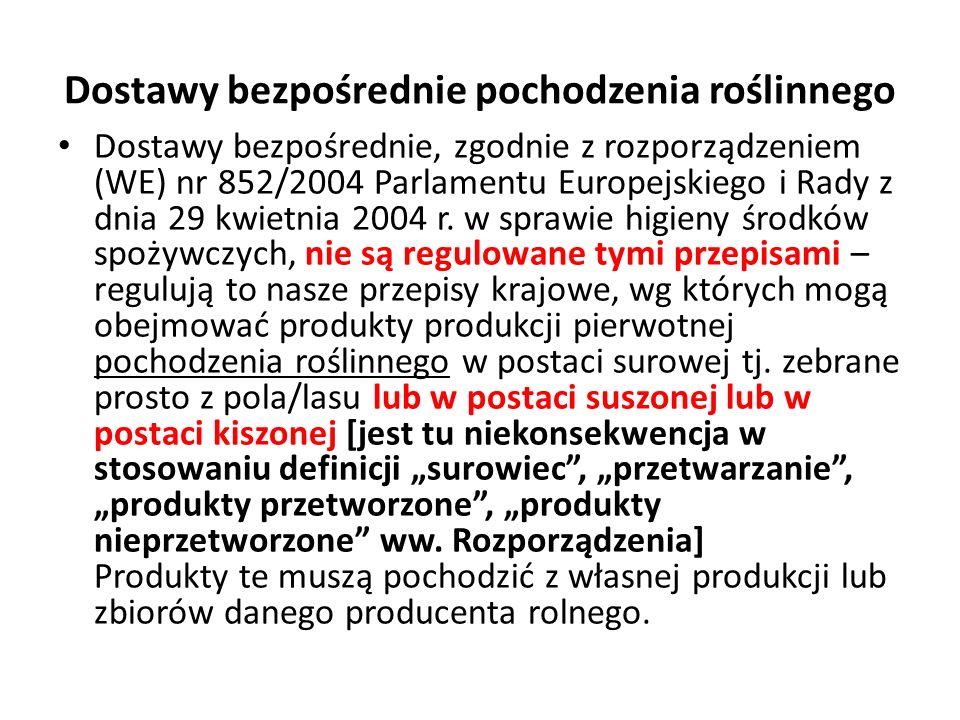 Dostawy bezpośrednie pochodzenia roślinnego Dostawy bezpośrednie, zgodnie z rozporządzeniem (WE) nr 852/2004 Parlamentu Europejskiego i Rady z dnia 29 kwietnia 2004 r.