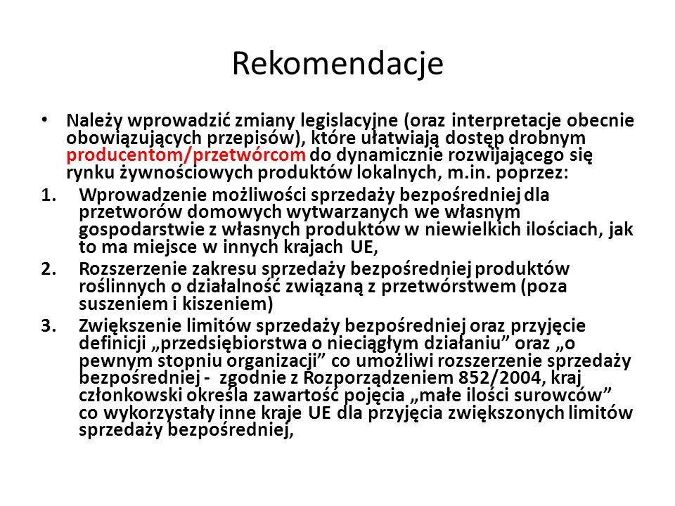 Rekomendacje Należy wprowadzić zmiany legislacyjne (oraz interpretacje obecnie obowiązujących przepisów), które ułatwiają dostęp drobnym producentom/p