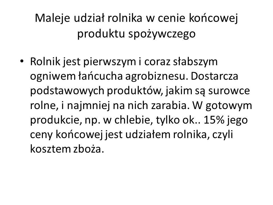 Maleje udział rolnika w cenie końcowej produktu spożywczego Rolnik jest pierwszym i coraz słabszym ogniwem łańcucha agrobiznesu.