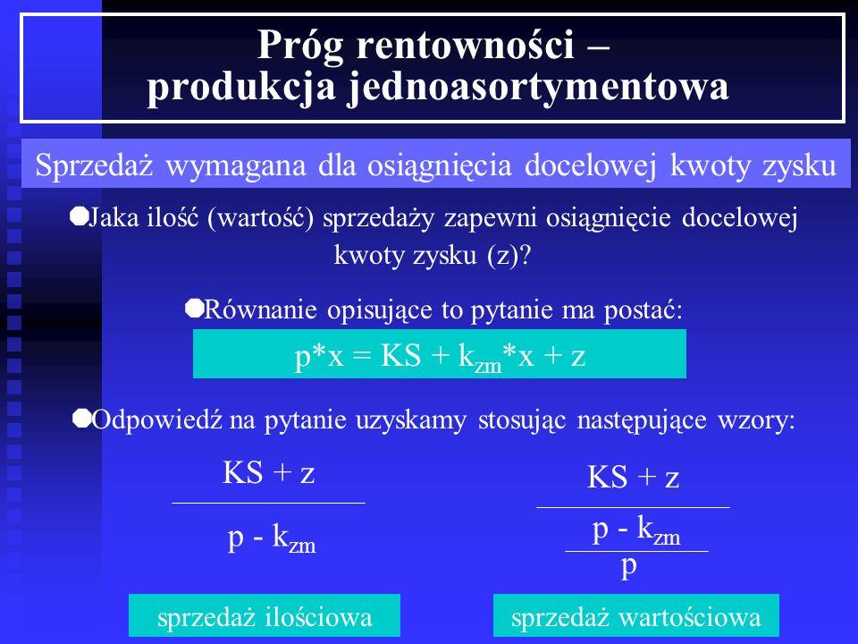 Próg rentowności – produkcja jednoasortymentowa Próg płynności finansowej KS - A PF il = p - k zm KS - A PF w = p - k zm p