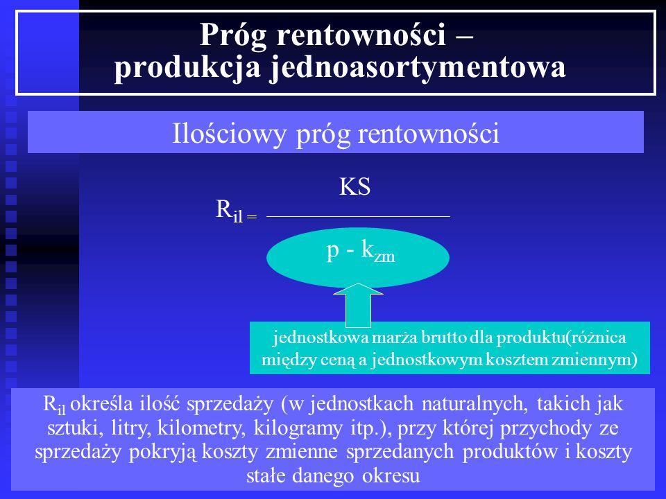 p*x = KS + k zm *x Próg rentowności może być wyznaczony matematycznie lub graficznie Próg rentowności może być określony ilością sprzedanych wyrobów (