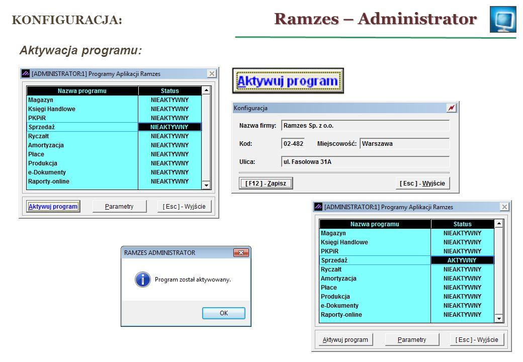 Ramzes – Sprzedaż REJESTR SPRZEDAŻY: parametry rejestru: