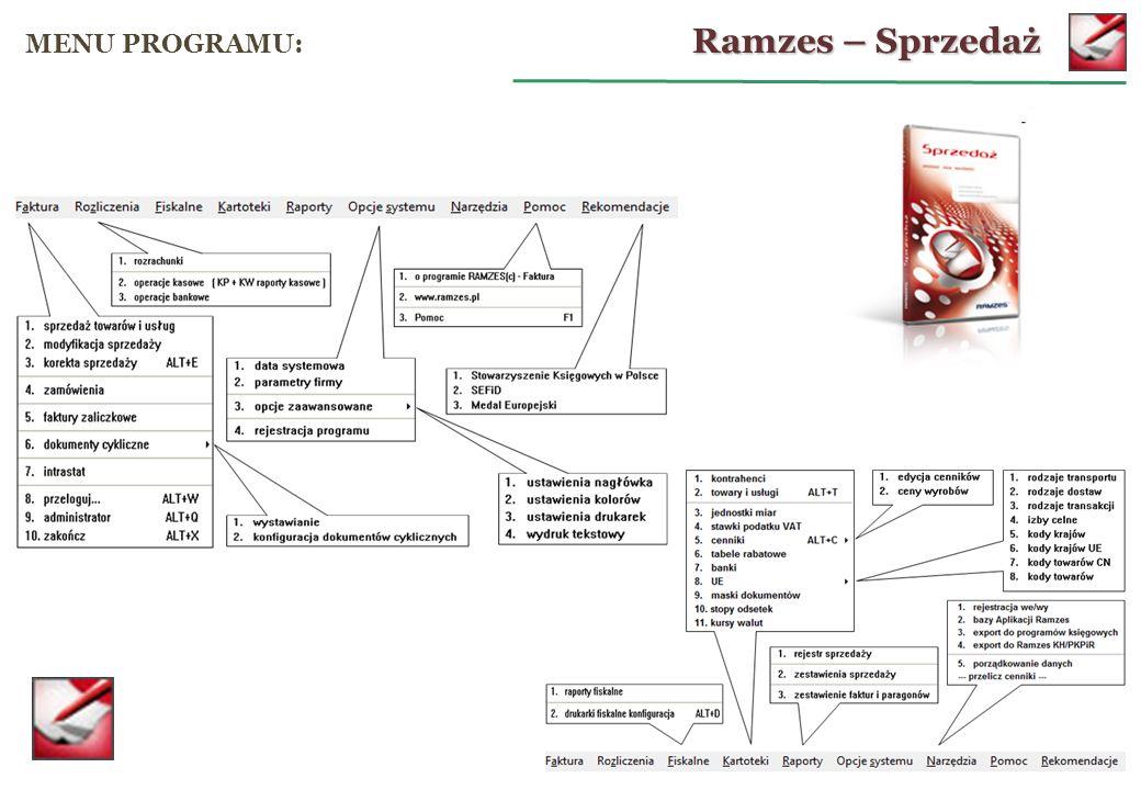 Ramzes – Sprzedaż MENU PROGRAMU: operacje kasowe: