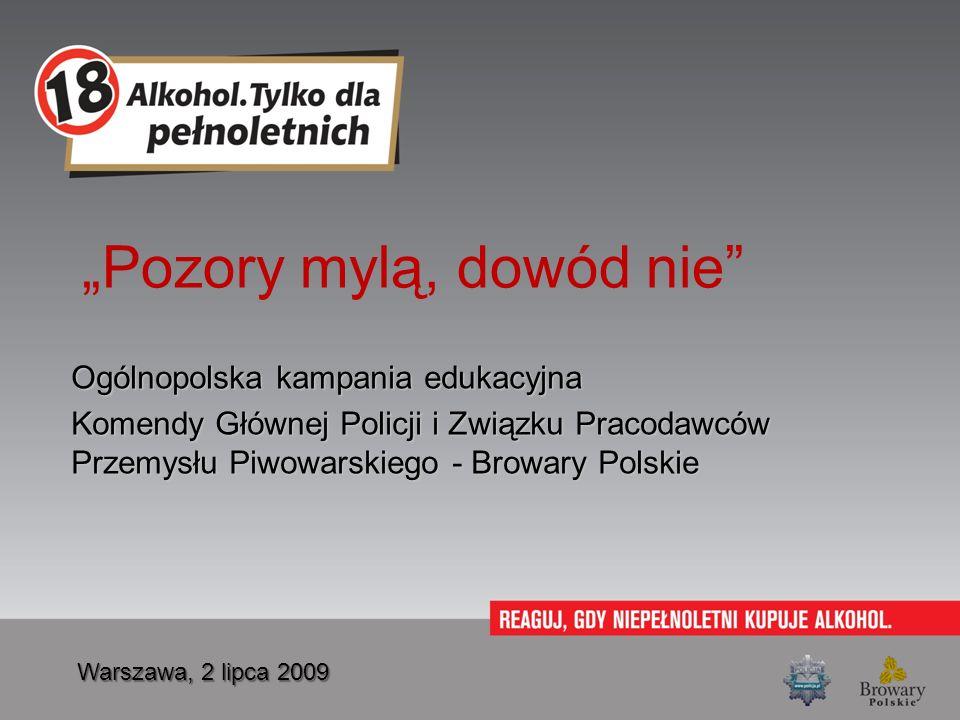 Pozory mylą, dowód nie Ogólnopolska kampania edukacyjna Komendy Głównej Policji i Związku Pracodawców Przemysłu Piwowarskiego - Browary Polskie Warsza