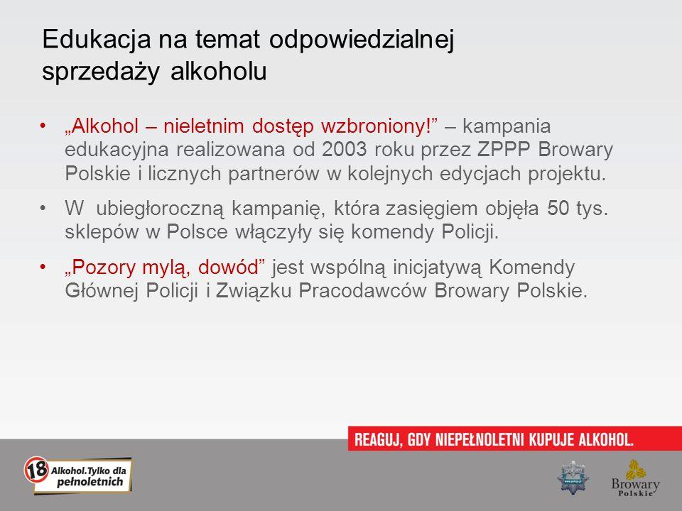 Edukacja na temat odpowiedzialnej sprzedaży alkoholu Alkohol – nieletnim dostęp wzbroniony! – kampania edukacyjna realizowana od 2003 roku przez ZPPP