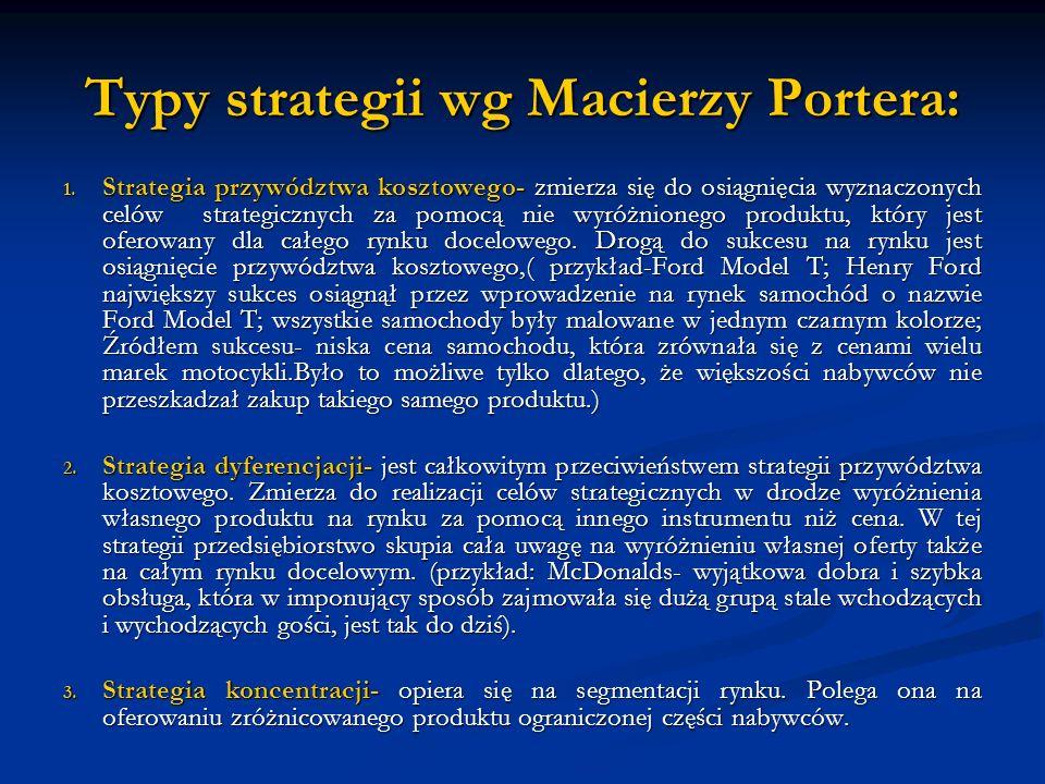 Typy strategii wg Macierzy Portera: 1. Strategia przywództwa kosztowego- zmierza się do osiągnięcia wyznaczonych celów strategicznych za pomocą nie wy