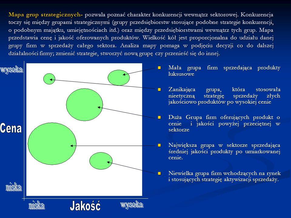 Mapa grup strategicznych- pozwala poznać charakter konkurencji wewnątrz sektorowej. Konkurencja toczy się między grupami strategicznymi (grupy przedsi