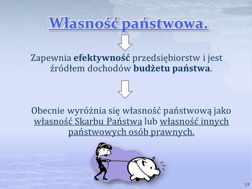 Jest elementem gospodarki rynkowej. Polskie prawo gwarantuje każdemu z nas ochronę naszej własności. Jest podstawą wolności. 12