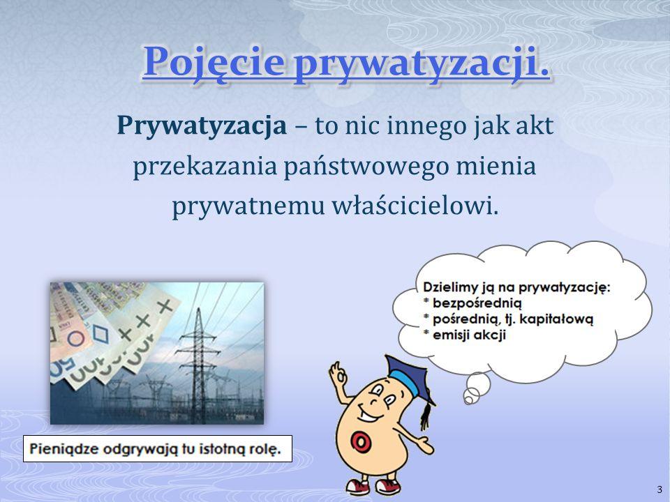 3 Prywatyzacja – to nic innego jak akt przekazania państwowego mienia prywatnemu właścicielowi.