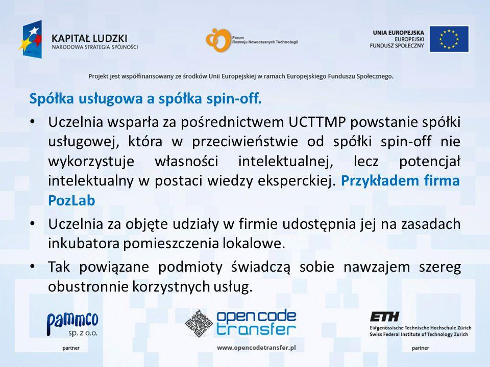 Spółka usługowa a spółka spin-off. Uczelnia wsparła za pośrednictwem UCTTMP powstanie spółki usługowej, która w przeciwieństwie od spółki spin-off nie