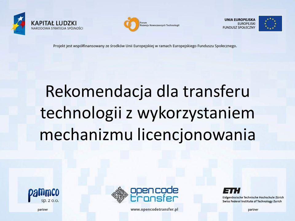 Rekomendacja dla transferu technologii z wykorzystaniem mechanizmu licencjonowania