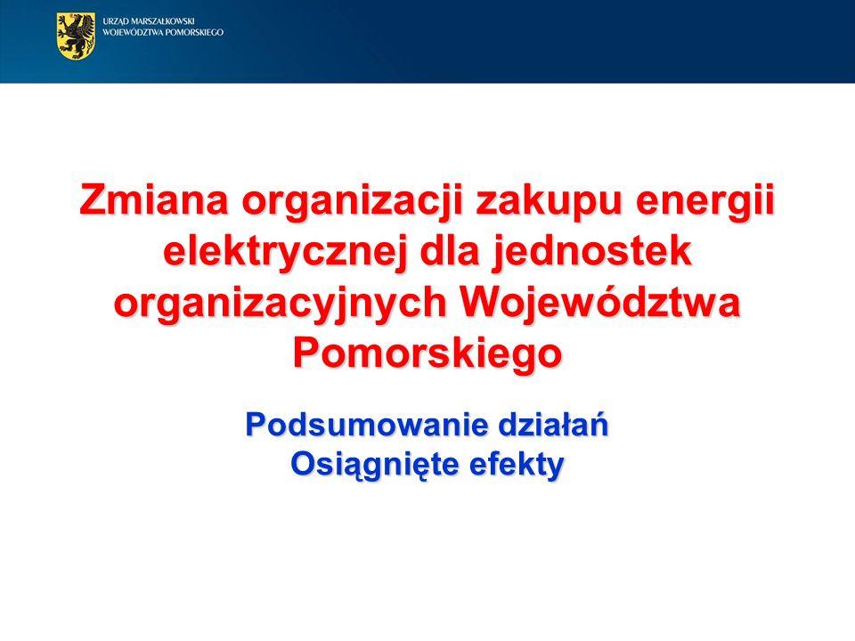 Zmiana organizacji zakupu energii elektrycznej dla jednostek organizacyjnych Województwa Pomorskiego Podsumowanie działań Osiągnięte efekty