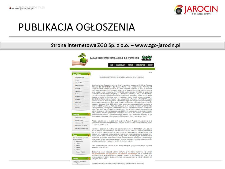 10.10.2020_jarocin Strona internetowa ZGO Sp. z o.o. – www.zgo-jarocin.pl PUBLIKACJA OGŁOSZENIA