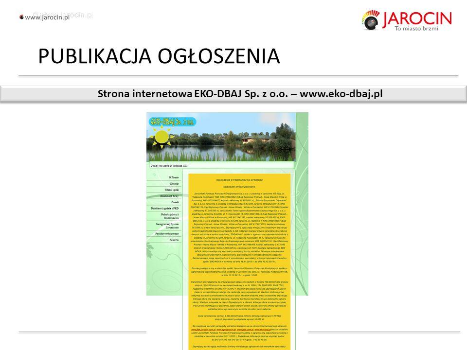 10.10.2020_jarocin Strona internetowa EKO-DBAJ Sp. z o.o. – www.eko-dbaj.pl PUBLIKACJA OGŁOSZENIA