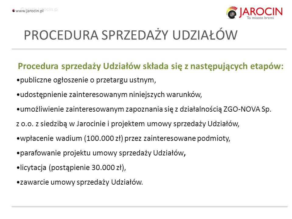 10.10.2020_jarocin Procedura sprzedaży Udziałów składa się z następujących etapów: publiczne ogłoszenie o przetargu ustnym, udostępnienie zainteresowanym niniejszych warunków, umożliwienie zainteresowanym zapoznania się z działalnością ZGO-NOVA Sp.