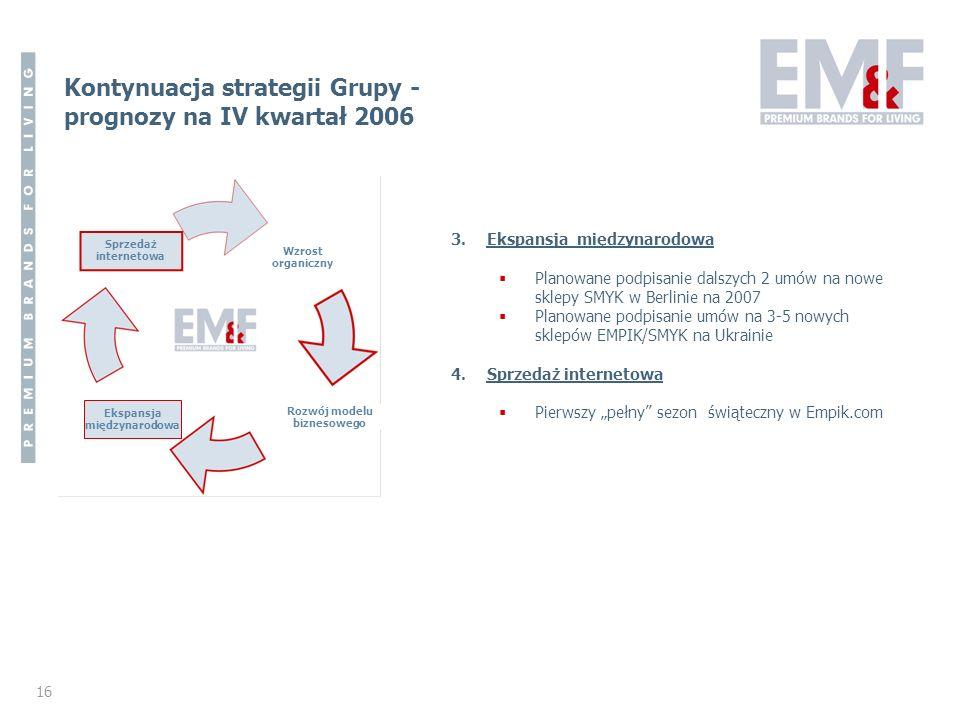 16 Kontynuacja strategii Grupy - prognozy na IV kwartał 2006 Sprzedaż internetowa Wzrost organiczny Rozwój modelu biznesowego Ekspansja międzynarodowa