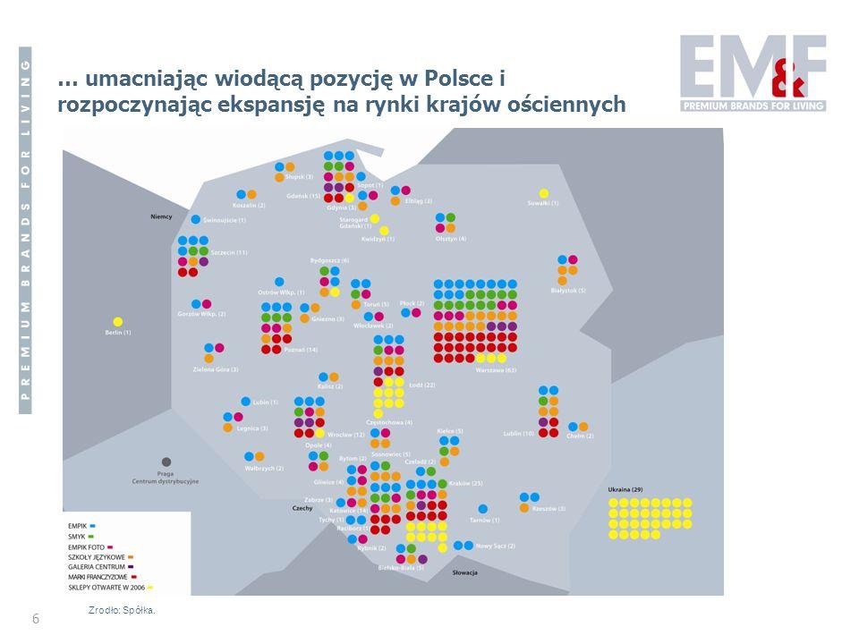 6 … umacniając wiodącą pozycję w Polsce i rozpoczynając ekspansję na rynki krajów ościennych Zrodło: Spółka.