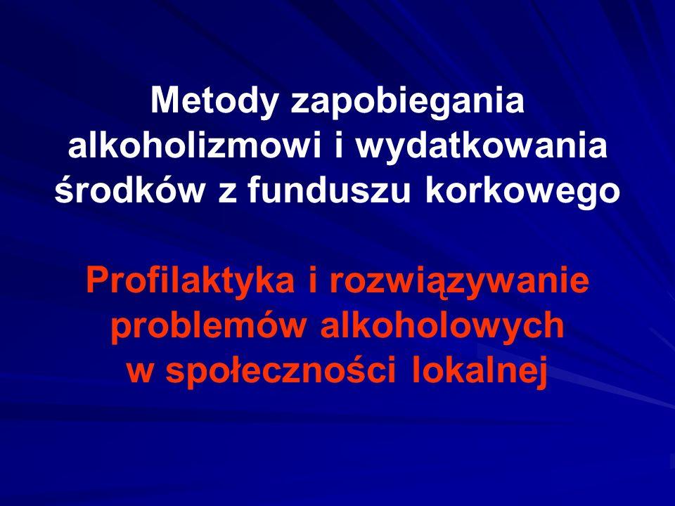 Metody zapobiegania alkoholizmowi i wydatkowania środków z funduszu korkowego Profilaktyka i rozwiązywanie problemów alkoholowych w społeczności lokal