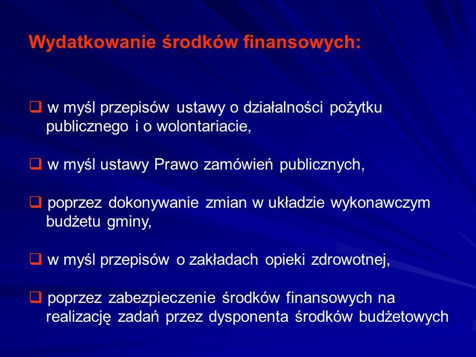 Wydatkowanie środków finansowych: w myśl przepisów ustawy o działalności pożytku publicznego i o wolontariacie, w myśl ustawy Prawo zamówień publiczny