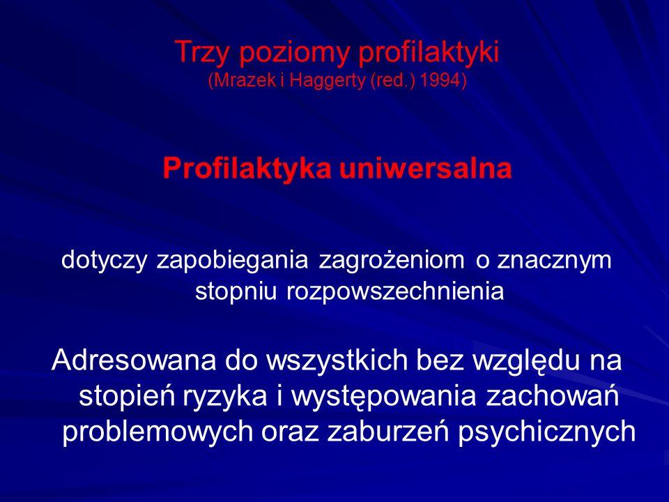 Trzy poziomy profilaktyki (Mrazek i Haggerty (red.) 1994) Profilaktyka uniwersalna dotyczy zapobiegania zagrożeniom o znacznym stopniu rozpowszechnien