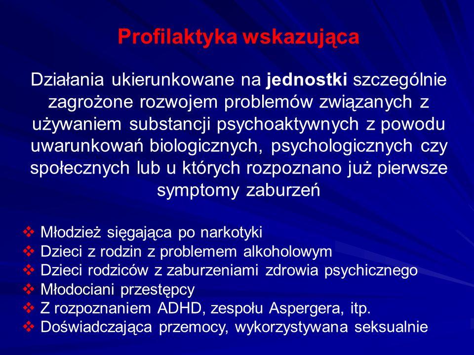 Profilaktyka wskazująca Działania ukierunkowane na jednostki szczególnie zagrożone rozwojem problemów związanych z używaniem substancji psychoaktywnyc