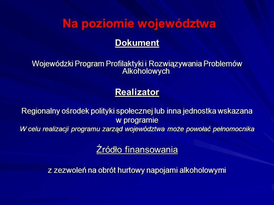Na poziomie województwa Dokument Wojewódzki Program Profilaktyki i Rozwiązywania Problemów Alkoholowych Realizator Regionalny ośrodek polityki społecz