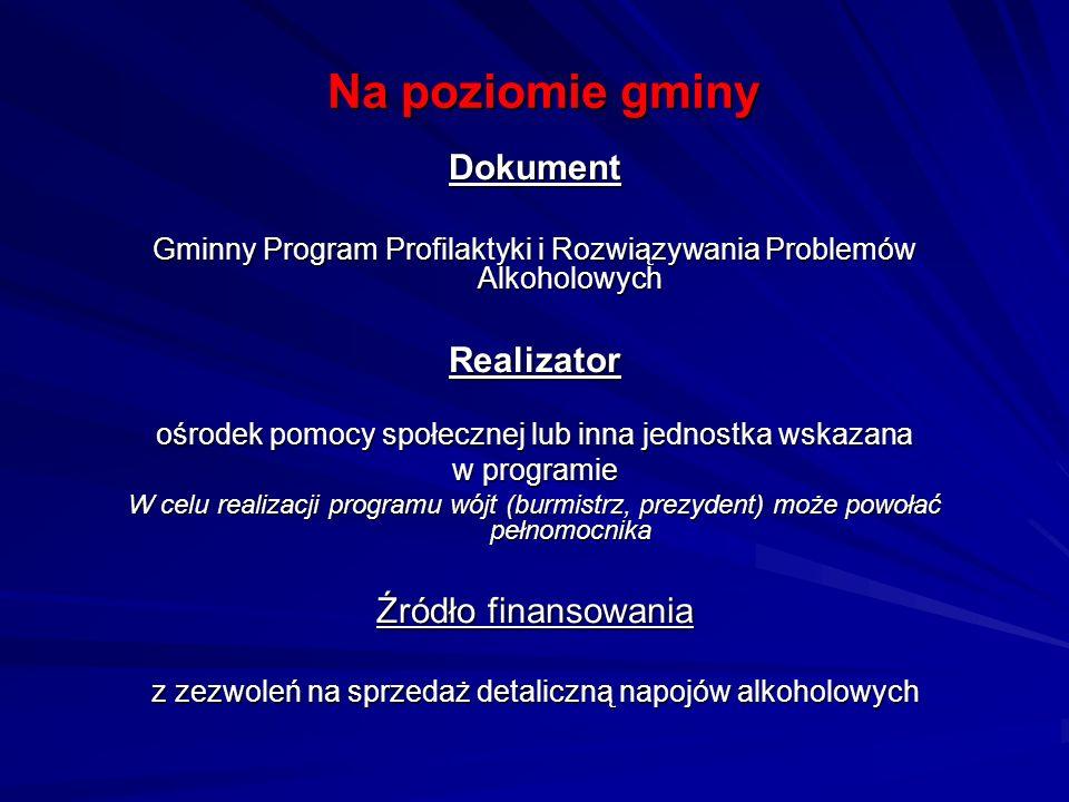 Na poziomie gminy Dokument Gminny Program Profilaktyki i Rozwiązywania Problemów Alkoholowych Realizator ośrodek pomocy społecznej lub inna jednostka