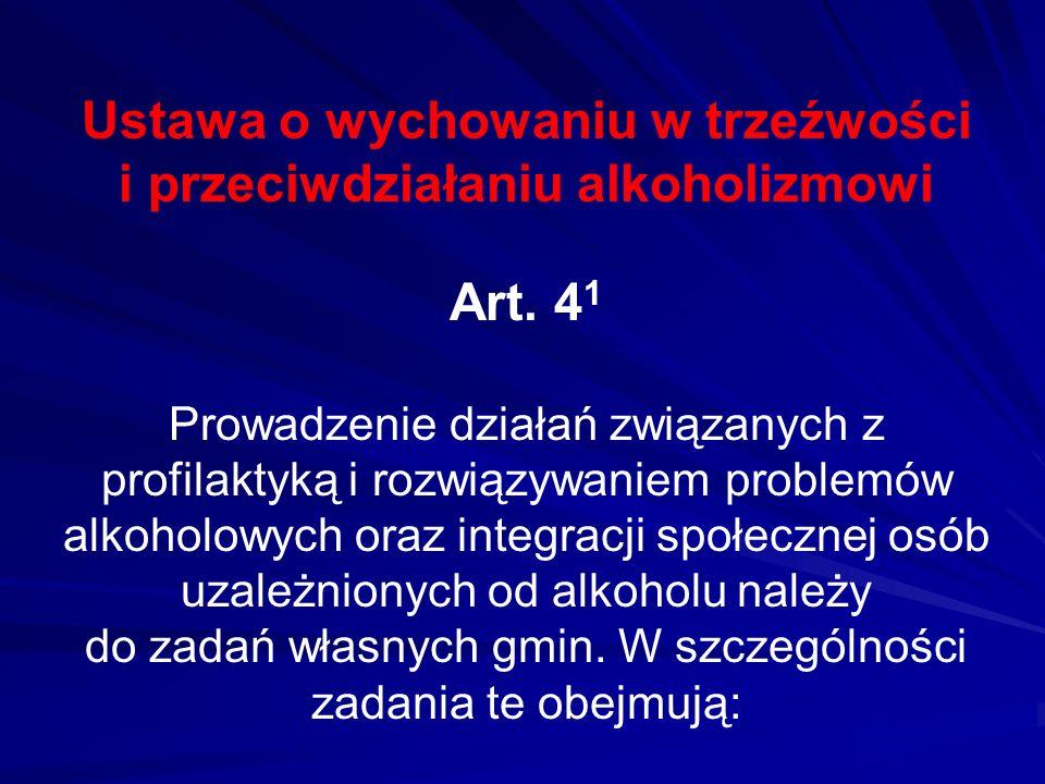 Ustawa o wychowaniu w trzeźwości i przeciwdziałaniu alkoholizmowi Art. 4 1 Prowadzenie działań związanych z profilaktyką i rozwiązywaniem problemów al