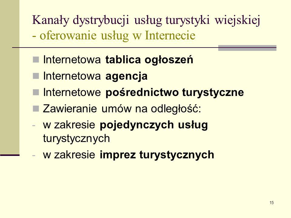 15 Kanały dystrybucji usług turystyki wiejskiej - oferowanie usług w Internecie Internetowa tablica ogłoszeń Internetowa agencja Internetowe pośrednic