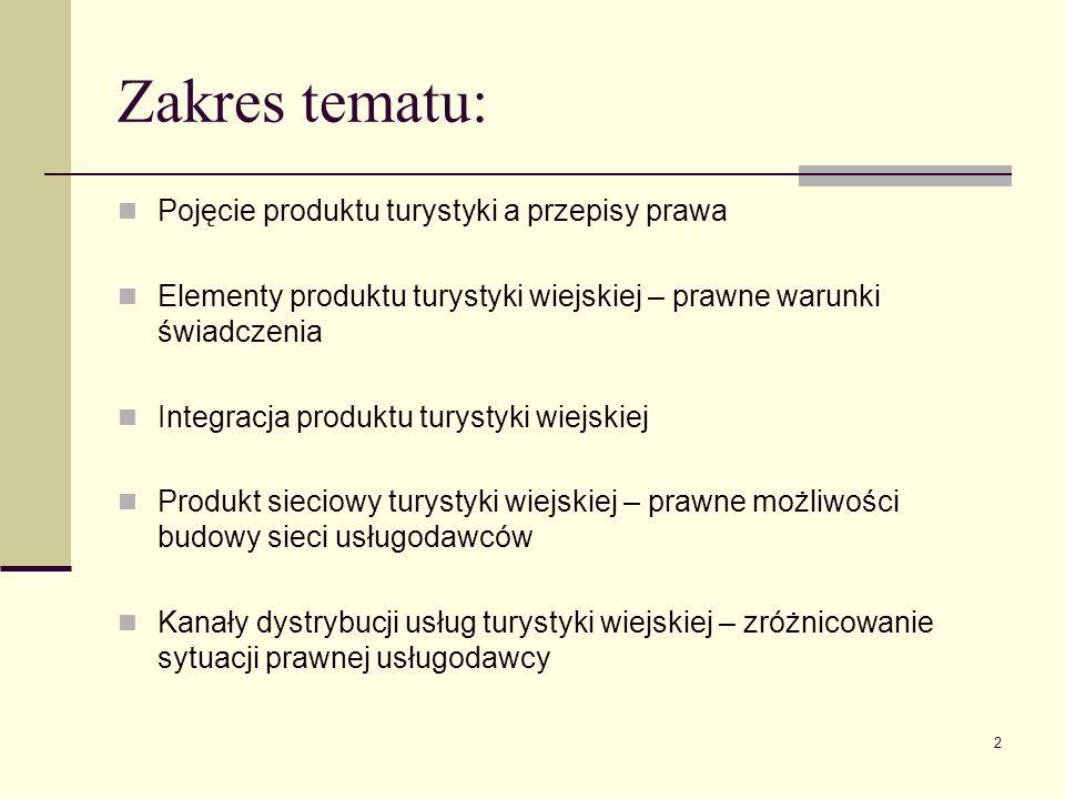 2 Zakres tematu: Pojęcie produktu turystyki a przepisy prawa Elementy produktu turystyki wiejskiej – prawne warunki świadczenia Integracja produktu tu