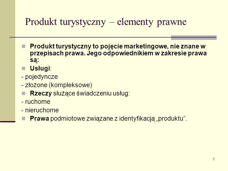 3 Produkt turystyczny – elementy prawne Produkt turystyczny to pojęcie marketingowe, nie znane w przepisach prawa. Jego odpowiednikiem w zakresie praw
