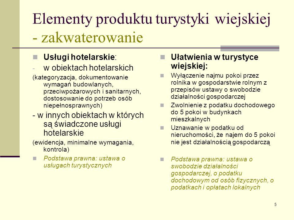 5 Elementy produktu turystyki wiejskiej - zakwaterowanie Usługi hotelarskie: - w obiektach hotelarskich (kategoryzacja, dokumentowanie wymagań budowla