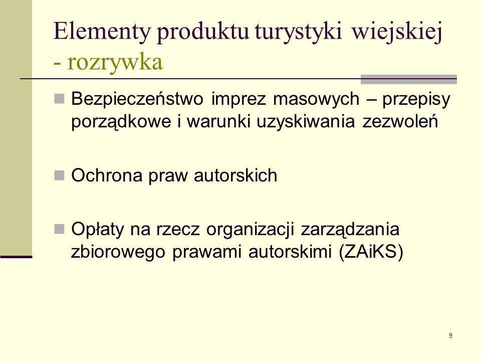 9 Elementy produktu turystyki wiejskiej - rozrywka Bezpieczeństwo imprez masowych – przepisy porządkowe i warunki uzyskiwania zezwoleń Ochrona praw autorskich Opłaty na rzecz organizacji zarządzania zbiorowego prawami autorskimi (ZAiKS)