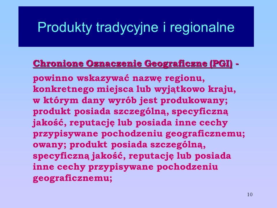 10 Produkty tradycyjne i regionalne Chronione Oznaczenie Geograficzne (PGI) - powinno wskazywać nazwę regionu, konkretnego miejsca lub wyjątkowo kraju