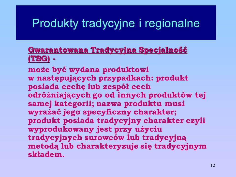 12 Produkty tradycyjne i regionalne Gwarantowana Tradycyjna Specjalność (TSG) - może być wydana produktowi w następujących przypadkach: produkt posiad