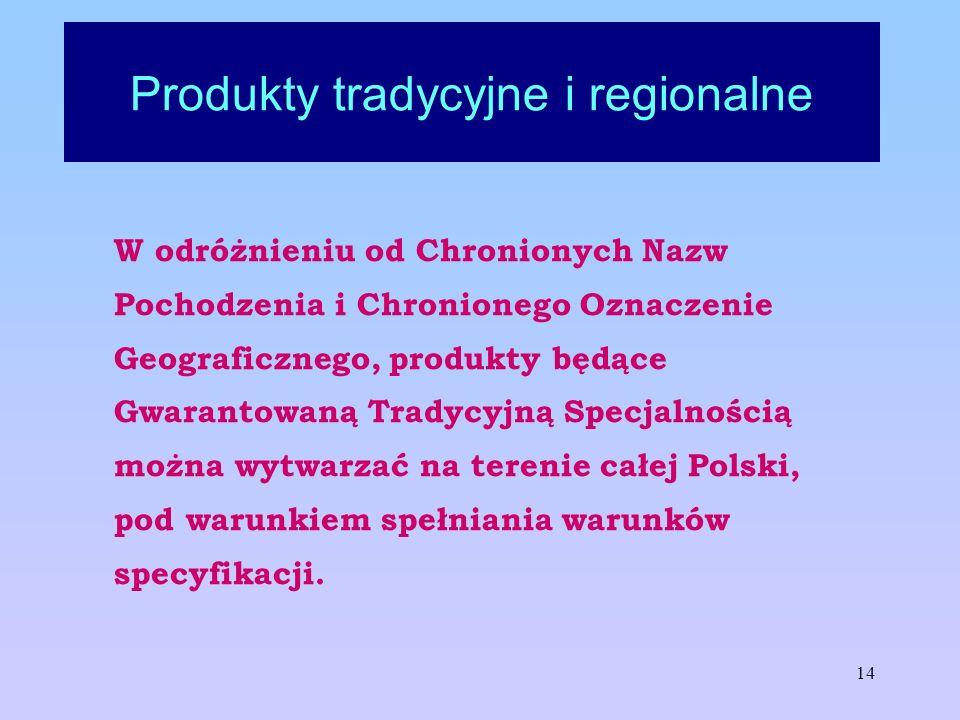 14 Produkty tradycyjne i regionalne W odróżnieniu od Chronionych Nazw Pochodzenia i Chronionego Oznaczenie Geograficznego, produkty będące Gwarantowan