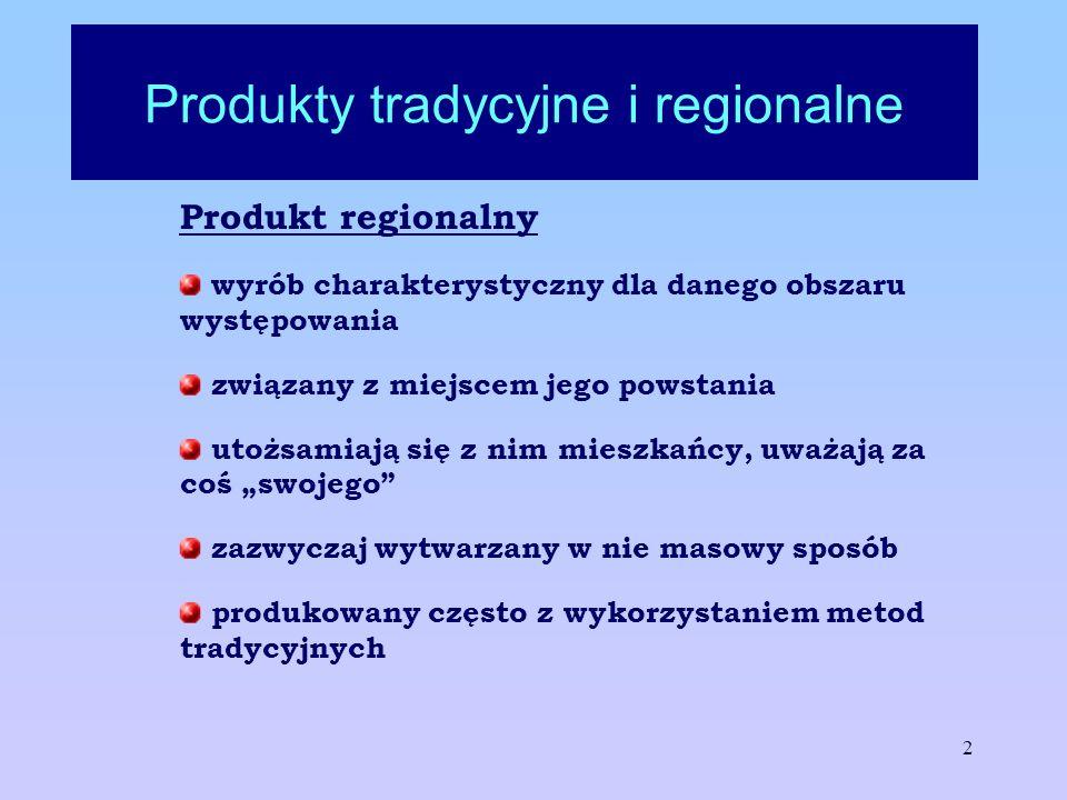 2 Produkty tradycyjne i regionalne Produkt regionalny wyrób charakterystyczny dla danego obszaru występowania związany z miejscem jego powstania utożs