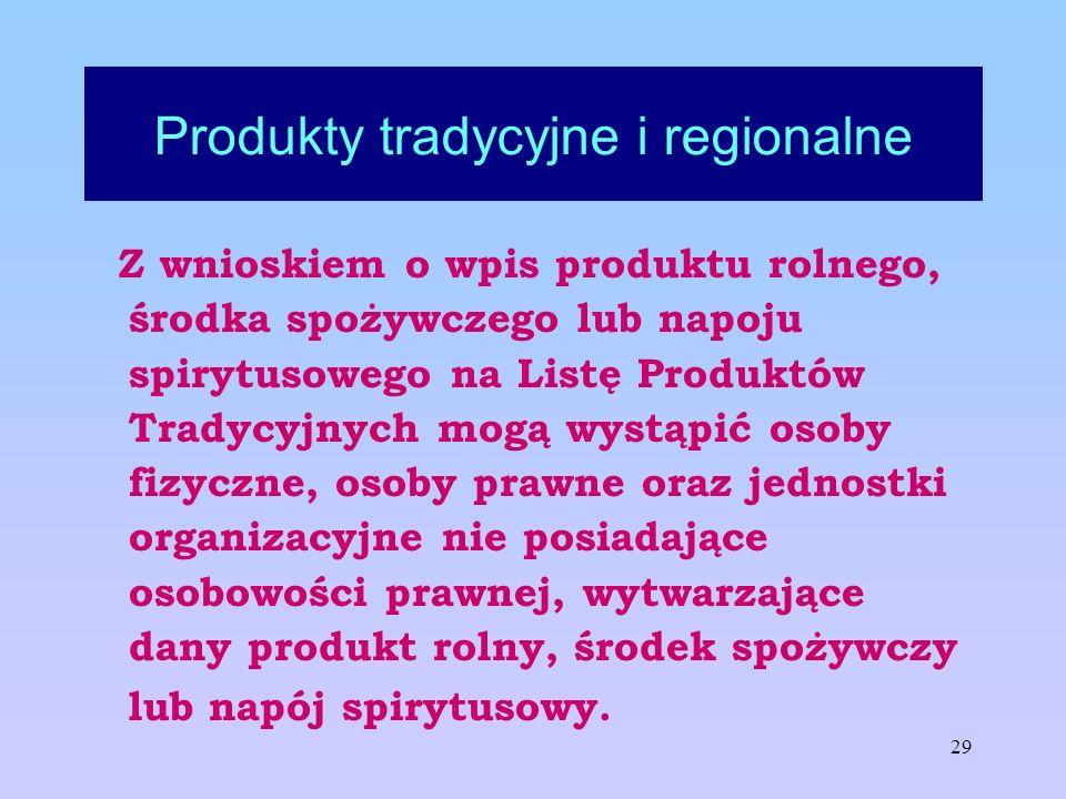 29 Produkty tradycyjne i regionalne Z wnioskiem o wpis produktu rolnego, środka spożywczego lub napoju spirytusowego na Listę Produktów Tradycyjnych m